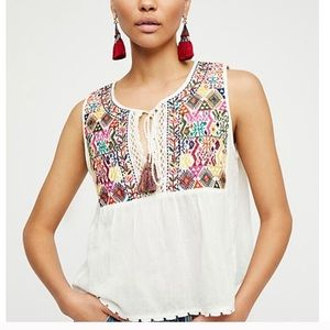 Free People Lohri Boho Embroidered White Top Sz L
